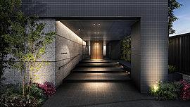 格式と重厚感に満ちたエントランス。木目調の扉と石材を贅沢に用いた壁面で構成されたエントランスアプローチ。周辺の街並みと調和しながらも、住まいの顔にふさわしい品位にあふれる佇まいを呈しています。