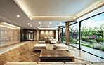 ホール正面のガラス越しには、花のテラスをレイアウト。エントランスホールは柔らかな光の間接照明と温もりの表情の木目素材を採用しており、空間には落ち着きが満ちています。