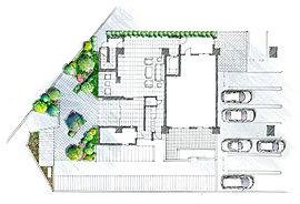 ゲートを設けたエントランスはプライベートな邸宅感を演出、建物内へ入ると上質の印象に包まれた共用スペースに迎えられます。ホール内にはウェイティングとラウンジ、2つの表情が異なる空間を用意。