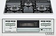 お手入れのしやすいパールクリスタルトップコンロを採用。煮こぼれや油汚れも落ちやすい仕様です。(水無し片面焼グリル付)