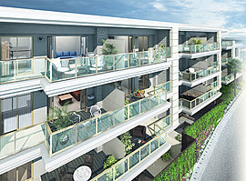 都会的でシャープな印象の中に、古典的な優雅さを醸し出す[カルティエ3]。ベルエポックの古典建築が立ち並ぶ、パリ・モンマルトル歴史地区のアパルトマンをイメージした地上4階、全69邸。抑揚のある雁行型のプランも内包する個性的な配棟のレジデンス。