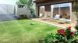 一部※の1階住戸には芝貼りのテラス付き専用庭を配置しました。リビングに開放感と明るい陽ざしをお届けします。テラスはテーブルセットなどもおける広さを確保。アウトドアの爽快な寛ぎをお楽しみください。※C2・J2タイプを除く