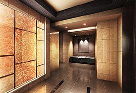エントランスホールに一歩足を踏み入れると漂う静けさと洗練。壁面のデザインが美しいアイストップとなり、その先に待ち受ける上質な空間への期待を膨らませます。
