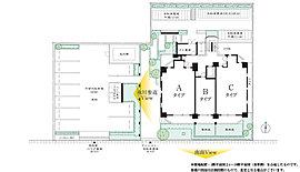 「氷川参道東の畔(ほとり)」この地にふさわしい配棟は、「全邸南向き」。さらに全33戸中22戸を3面採光の角住戸とすることで開放感と心地よさを湛えた生活が実現します。