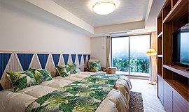 ご両親やご友人が訪れた際の宿泊場所として利用できるゲストルーム。その他の共用施設と同様に「OLIVE & OLIVER」と「So,u」がデザインを手掛け、リゾートホテルのように心地よい空間づくりを追求しました。