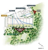 暮らしの舞台となるのは、「羽根木憩いの森」を南西側に控えた落ち着きある邸宅街。ここに二面角地という好条件を得て、全邸南西・南東向きの敷地計画を実現しました。