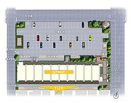3方道路のゆとり。便利な平置駐車場やサイクルポート。