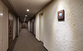 外部からの視線を気にすることなく、プライバシーに配慮した内廊下設計を採用。靴音が響きにくく上質な雰囲気を演出するカーペット敷きの床と、落ち着きある陰影を描く照明がホテルのような高級感を醸し出します。