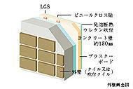 外部に面する躯体コンクリート壁厚は約180mmを確保しています。さらに、発泡ウレタンを吹き付けることにより、断熱性を確保しています。