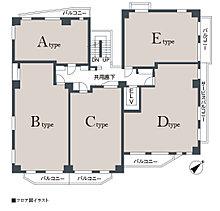 1フロア [最大]5戸中4戸が角住戸設計。開放感が自慢です。