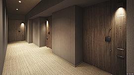 各住戸へのアプローチは、ホテルライクなカーペットを使用した内廊下設計で高級感を演出。外廊下設計に比べて雨風の影響を受けないため快適です。廊下に窓を設けていないためプライバシー性に配慮し、セキュリティ面でも安心です。