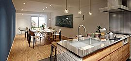 共用部エリアには、多目的なコミュニティスペースをご用意。大きな黒板のあるカフェのような空間には、キッチンやオープンガーデン、土間スペースがあり、いるだけで楽しくなる雰囲気に。様々な集いやイベントにご利用いただけます。