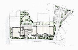 中庭はマウンドを中心に、眺めるためのエリアと集うためのエリアを創出。住まう人たちだけのための豊かな環境もしっかりとしつらえています。