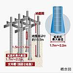 礎は、アースドリル拡底杭工法による場所打ちコンクリート杭を採用しています。※杭先端深さは、杭の位置によって異なります。