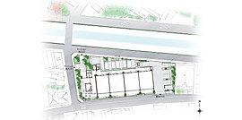 三方角地に描く、緑豊かなランドスケープ。周囲の建物と隣接しない、北・西・南の三方角地の恵まれた立地。高いプライバシー性と開放感のある暮らしに、川沿いの桜や植栽が潤いを与えてくれます。