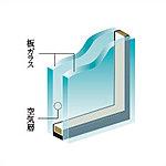 2枚の板ガラスの間に空気層を挟み込むことにより、高い断熱効果を発揮。※透明ガラス・網入りガラス・型板ガラスなど、一部ガラスの種類が異なる場合があります。