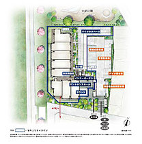 川と公園、緑の潤いと調和のする、ランドスケープを創造。敷地中央には中庭、西・北側には生垣、メインエントランスのある南側には植栽帯を設け、プライバシーの確保とともに、川や公園とつながる緑の連続性を演出しています。