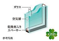 2枚のガラスの間に空気層を確保。優れた断熱性で、冷暖房効率の高い居住空間を実現します。