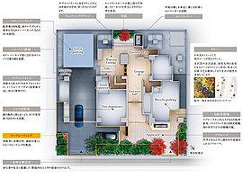 金沢都心での新しい暮らしを創出する住まいとして、心から癒しを享受できる快適な空間を追求。住み心地と機能性を求めたランドプラン。