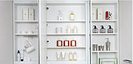 化粧品や身だしなみ用品など洗面室で使うこまごまとした物を鏡の裏に収納できます。