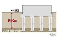 26本の場所打ちコンクリート杭を、強固な支持地盤まで打設する、アースドリル式拡底工法を採用しています。