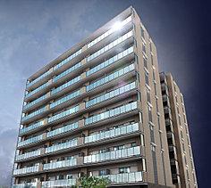 スマートなライフスタイルを映し出す地上10階建てツインフォルム。街と違和感なく調和するシンプルな佇まいのなかに、アクティブな都市生活を象徴する洗練のファサードデザインを融合。