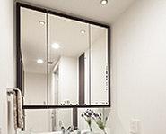 合わせ鏡に便利な三面鏡やお手入れのしやすいスクエア型洗面台、豊富な収納。いつでも気持ちよく使える家族にやさしい仕様です。