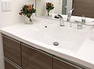 継ぎ目のない一体成形で、お掃除も簡単です。また、引き出して使えるシャワーヘッド搭載。