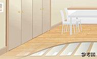 足元から室内全体を暖め、室温を保つ床暖房を採用。※A・Dタイプはダイニング・キッチン、B・Cタイプはリビング・ダイニング・キッチンに設置。