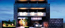 大阪城大手門から西へ延びる大手通に並び建つ「サンクレイドル大手前」。エントランスゾーンは、重厚な城の石垣を思わせる御影石をゲート風に組み上げ、歴史ある立地に相応しい威風を演出しています。