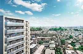 穏やかな街並に調和する落ち着きあるカラーリングの外観。地上14階建・全65戸を内包する都市型レジデンスに、陽ざし溢れる南向き中心の2LDK・3LDKファミリータイプをご用意。さらにプライバシー性を高めるなど、人気の高い角住戸は80%を確保。
