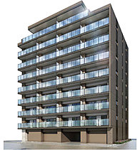 穏やかな街並みの中でひときわ眼を惹く地上9階建のファサードデザイン。落ち着きのあるシンメトリーなフォルムには、アースカラーのタイルを纏い立体感を強調。全階のバルコニーをガラス手摺に統一することにより、シンプルで洗練された佇まいに。