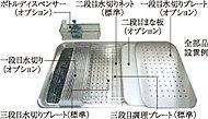 上段にはまな板や網カゴを、中段には調理プレートや水切りを設置し、便利な作業スペースを実現。シンクの使い方が今まで以上に広がります。