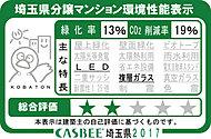 「サンクレイドル戸田公園」では埼玉県が評価する建築物環境計画書の取り組み状況に応じて評価される「埼玉県建物環境性能表示」を取得しています。
