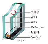 2枚のガラスの間に空気層を設け、断熱効果を発揮する複層ガラスを採用。冷暖房効果を高め、省エネにも役立ちます。※表示性能は部材自体の単体性能であるため、実際の住宅内での性能とは異なる可能性があります。