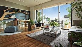 リビング・ダイニングは、ゆったりと家具をレイアウトできる12畳以上の広さを確保。また、天井いっぱいまで※の高さを設けたウォールドア(可動間仕切り)を採用しました。