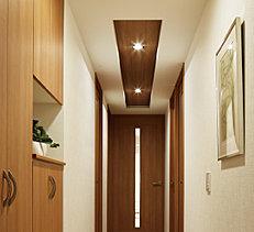玄関から続く廊下には折上天井を標準装備。格調高く開放的な空間を創出しました。