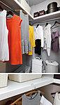 ハンガーパイプのほか上部に棚などがあり、衣類をはじめ様々なアイテムが収納できる大容量空間。(一部オプションで可動棚となります。)※参考写真