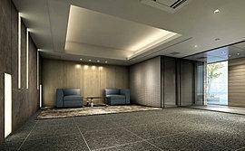 上質な時間を育むエントランスホール。壁面に、大判大理石調タイルの光壁や、幾何学的模様を創る立体タイルスクリーンをあしらい、間接照明の柔らかな光が招くエントランスホール&ラウンジをデザインしました。