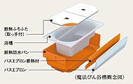 浴槽を「魔法びん」のような断熱構造にすることで、放熱を抑え、圧倒的な保温性能を実現する「魔法びん浴槽」を採用。