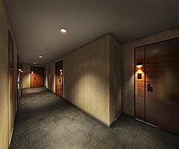 都心の住まいにふさわしい暮らし心地と安全性を両立するために、共用廊下は内廊下仕様に。雨天時や夏・冬でも快適なだけでなく、プライバシー性もしっかりと確保。不審者の侵入も防ぐことができ、空き巣などの犯罪を抑止します。