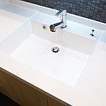 洗面カウンターとボールが一体成形なので、汚れがたまらず、清潔感を保てます。