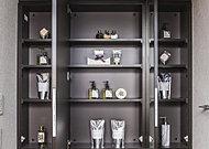 鏡裏は、化粧品やグルーミング用品などの小物類を納める収納スペース。ティッシュボックススペースなど便利な工夫を備えています。