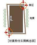 地震によりドア枠が変形しても開閉できるように、ドアとドア枠の間にゆとりを設けた対震ドア枠付の玄関扉を採用しています。