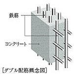 センチュリー船橋では、構造壁の鉄筋を二重に組み、シングル配筋よりも高い強度と耐久性を発揮するダブル配筋を採用しています。