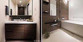 使いやすく清潔感あふれるパウダールーム。日々の疲れを癒すくつろぎのバスルーム。