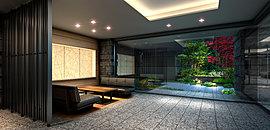 上質な気品を湛えたエントランスホール。視線を遮らないワイドなガラス張りの開放的なオープンビューラウンジには、柔らかな照明とゆったりとしたソファーを配置。外構の植栽を借景として、内部と外部が連続する寛ぎを演出。