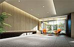 豪華な折上げ天井に柔らかなダウンライト。スリットごしには差し込む陽光。落ち着いた木調の垂れ壁と上質なマテリアルの優雅なコンビネーション。北欧の建築家アルネ・ヤコブセンのインテリアを設え、少し気持ちも浮かせる異空間の演出。