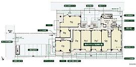 歩車分離の動線など、暮らす方に優しい敷地計画。奥座敷のような居心地を愉しむ、 南向き中心プランニング。