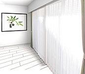 天井から一体型のカーテンボックスは見栄えも良く上部にホコリが溜まる事もありません。